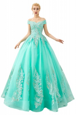 Glamorous Off the Shoulder Sweetheart Applique A-line Floor Length Prom Dresses_2