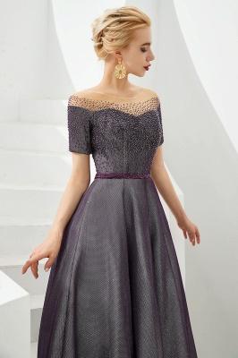 Glamorous Round Neckline Short Sleeves Beaded Belt A-line Floor Length Prom Dresses_5