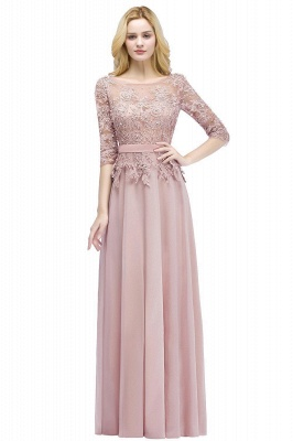 Cheap A-line Floor Length Half Sleeves Appliques Bridesmaid Dress with Sash in Stock_1