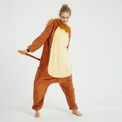 Cute Animal Pyjamas for Women Lion Onesies, Brown_4