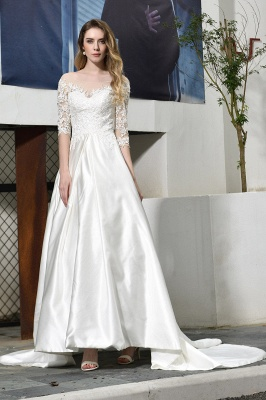 Cheap Lace Half Sleeves V Neck Wedding Gowns Satin with Train_8