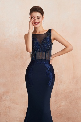 Bateau Backless Beaded Sexy Long Mermaid Prom Dresses | Glamorous Floor Length Evening Dresses_10