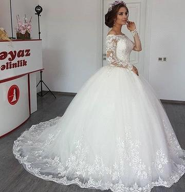 Bateau Long Sleeve Off The Shoulder Lace Applique Ball Gown Wedding Dresses | Beading Bridal Gown_2