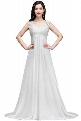 A-Line Sweep Trains Glamorous Wedding Dresses with Lace_1