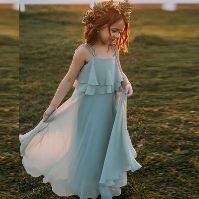 Boho Spaghetti Straps Floor Length Tiered Chiffon Flower Girl Dresses_4
