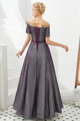 Glamorous Round Neckline Short Sleeves Beaded Belt A-line Floor Length Prom Dresses_8