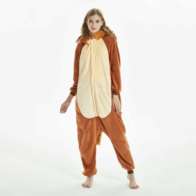 Super Soft Adult Lion Brown Onesies Pajamas for Girls_7