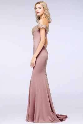 Simple Off the Shoulder Appliques Fitted Floor Length Evening Gown_24