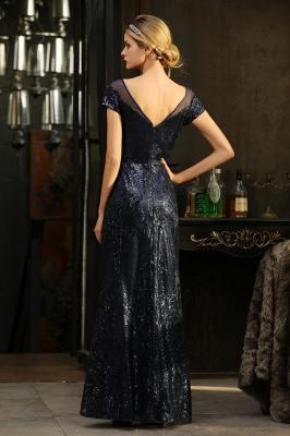 Bateau Short Sleeves Long Sequins Prom Dresses   Floor Length Fitted Evening Dresses_16