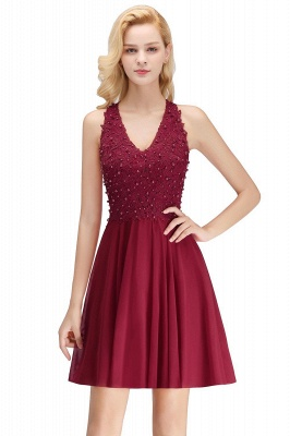 Cheap A-line V-neck Sleeveless Short Appliques Chiffon Homecoming Dress in Stock_2