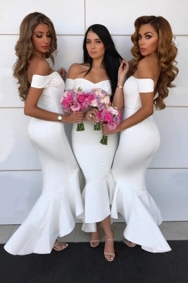 Tea Length Off the Shoulder Mermaid Bridesmaid Dresses | Affordable Maid of Honor Dresses_1