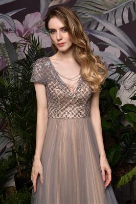 Elegant Short Sleeve Beading Floor Length a line prom dresses  Scaoop cheap graduation dress_13