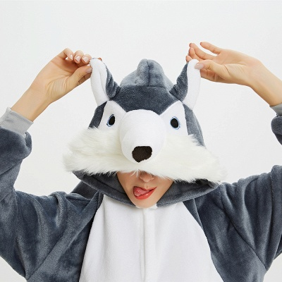 Lovely Pajamas Sleepwear for Women Huskie Onesie, Dark Grey_15