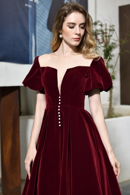 Burgundy Flare Sleeve Deep V Neck Tea Length A Line Prom Dresses | Ruffles Evening Dresses_9