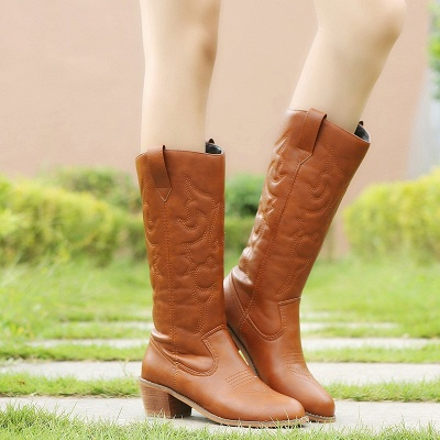 Fashion Brown Knee High Women's Boots_3