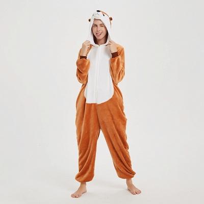 Cute Sleepwear for Women Brown Hoodie Onesies_11