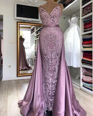 Gorgeous Sleeveless V-neck Appliques Belted Fitted Prom Dresses with Detachable Train_1