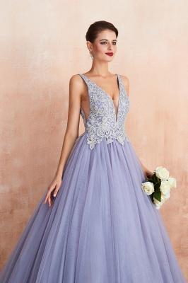 Straps V-neck Sexy Applique Long Prom Dresses   Glamorous Puffy Evening Dresses_9