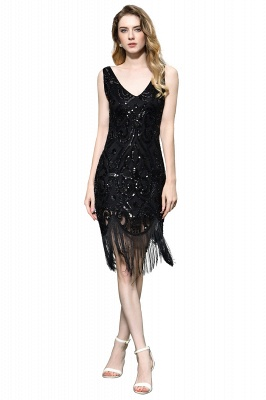 Black Straps V Neck Applique Lace Sequined Sheath Homecoming Dresses_1