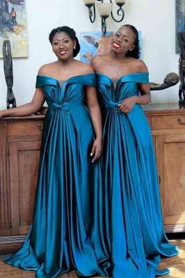 Long Off the Shoulder Satin Sexy Bridesmaid Dresses | Elegant Wedding Guest Dresses_1