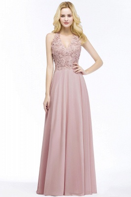 Cheap A-line V-neck Sleeveless Long Appliques Chiffon Bridesmaid Dress in Stock_2