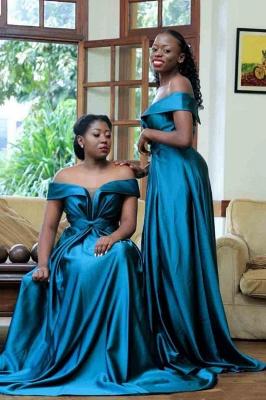 Long Off the Shoulder Satin Sexy Bridesmaid Dresses | Elegant Wedding Guest Dresses_4