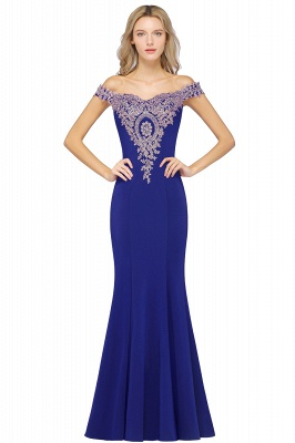 Simple Off the Shoulder Appliques Fitted Floor Length Evening Gown_5