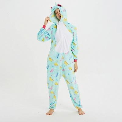 Cute Animal Pyjamas for Women Triceratops Onesie, Green_16
