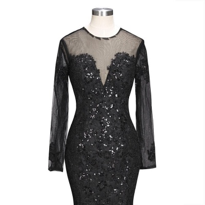 Long-Sleeves Backless Black Mermaid Appliques Sexy Prom Dress_6