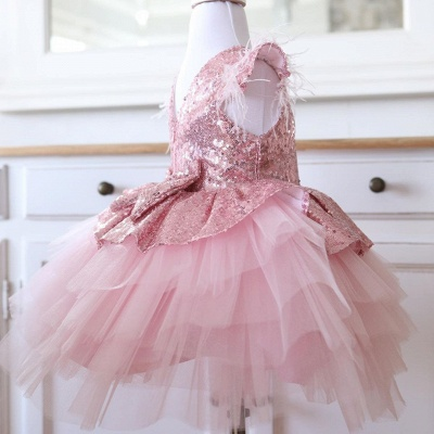 Lovely Hi-Lo Jewel Cap Sleeves Sequins Flower Girl Dresses with Bowknot_2