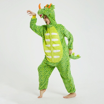 Cute Animal Pyjamas for Women Triceratops Onesie, Green_15