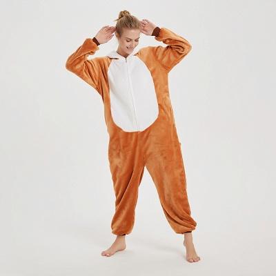 Cute Sleepwear for Women Brown Hoodie Onesies_6