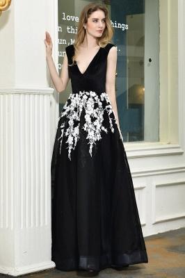 Black Straps Deep V neck A Line Prom Dresses | Applique Lace Corset Back Evening Dresses_9