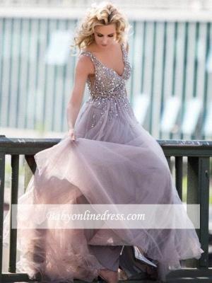 Sleeveless Deep-V-Neck Beading Brilliant Tulle Rhinestones A-Line Prom Dresses_4