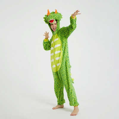 Cute Animal Pyjamas for Women Triceratops Onesie, Green_9