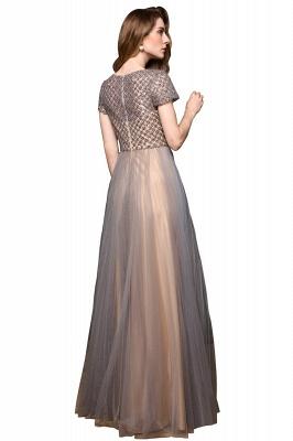 Elegant Short Sleeve Beading Floor Length a line prom dresses  Scaoop cheap graduation dress_9