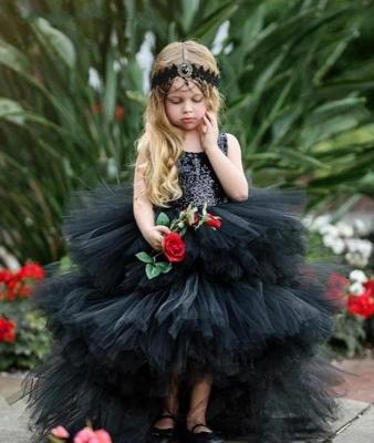 Jewel Sleeveless Hi-Lo Open Back Sequins Tulle Ball Gown Flower Girl Dresses_3