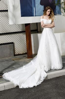 Gorgeous A-Line Lace Off Shoulder Floow Length Wedding Dresses_5