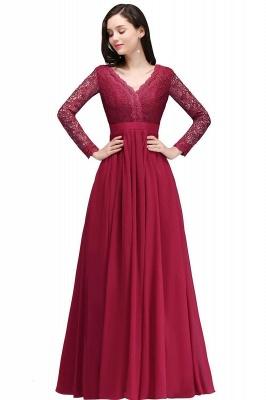 Elegant A-line Chiffon Lace Long Sleeves Evening Dress On Sale_1