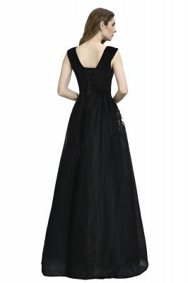 Black Straps Deep V neck A Line Prom Dresses | Applique Lace Corset Back Evening Dresses_12