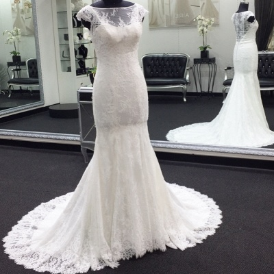 Gorgeous  Sweep Train Cap Sleeves Bateau Lace Mermaid Wedding Dresses_2