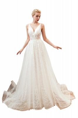 Gorgeous Spaghetti Straps Sweep Train V-neck Lace-Up Lace Wedding Dresses_20