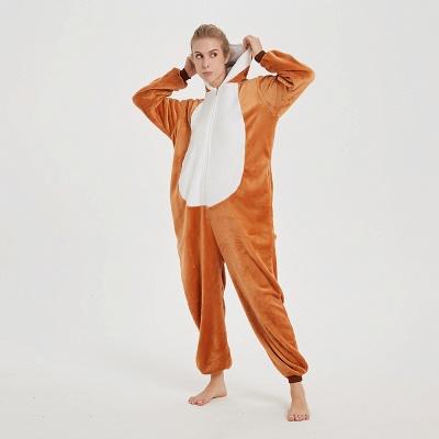 Cute Sleepwear for Women Brown Hoodie Onesies_12