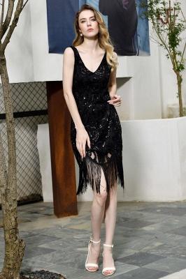 Black Straps V Neck Applique Lace Sequined Sheath Homecoming Dresses_7