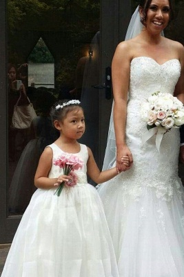 Simple Jewel Sleeveless Floor Length Lace Tulle Flower Girl Dresses_1
