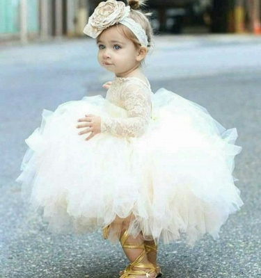 Angelic Jewel Long Sleeves Ball Gown Lace Flower Girl Dresses | Kids Dresses for Wedding_2