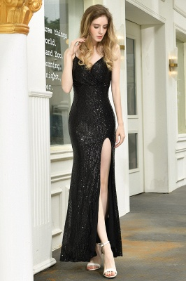 Black Spaghetti Strap V Neck Sequined Front Slit Floor Length Sheath Prom Dresses | Backless Evening Gown_22
