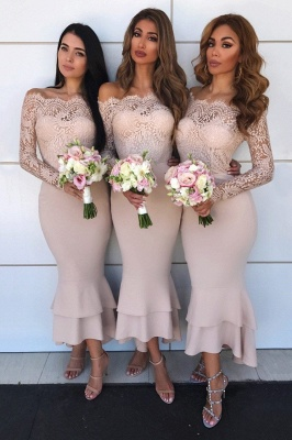 Long Sleeves Tea Length Lace Mermaid Sexy Bridesmaid Dresses  | Affordable Maid of Honor Dresses_3