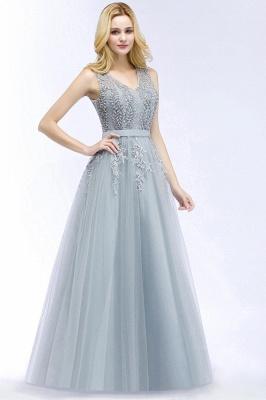 Stylish V-neck Tulle Lace Long Evening Dress On Sale_2