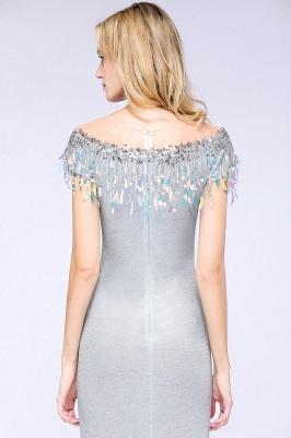 Elegant Jewel Short Sleeves Sequins Evening Dress with Tassels On Sale_7